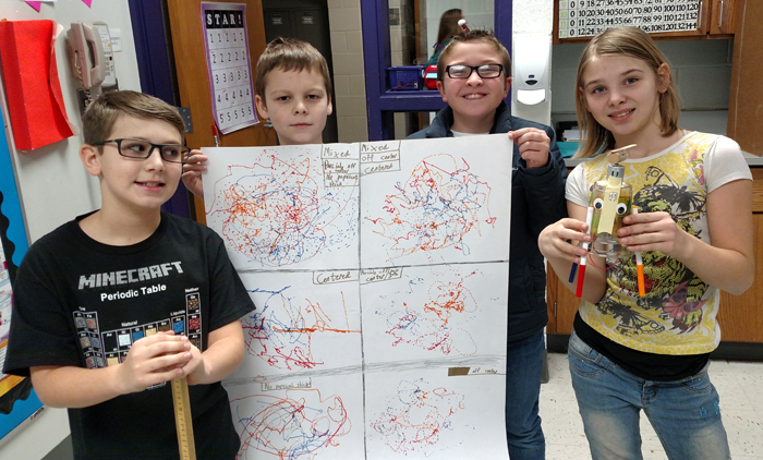 Exploring Circuits with ArtBots: A Classroom Success Story - Students with poster