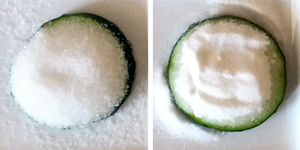 see which ingredients do the best job of drawing water from the cucumber / Family Science Activity